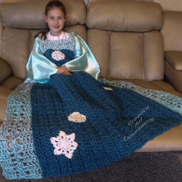 Ready to Ship, Ice, Snow, Princess Dress Blanket Thick & Soft, Crocheted, Opal Blue, White, Blue Child Large, Wearable Blanket, Girl Gifts, Unique Gifts