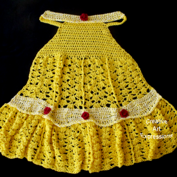Yellow Princess Dress Blanket, Crocheted, Yellow, Red Roses, Adult Teen, Child, Toddler, Made to Order, Wearable Blanket, Women Gifts, Girl Gifts, Unique Gifts,
