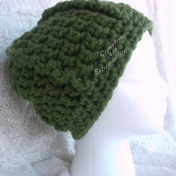 Ready to Ship Green Bulky Ribbed Slouchy Thick Hat Crocheted  Women Hat Winter Hat