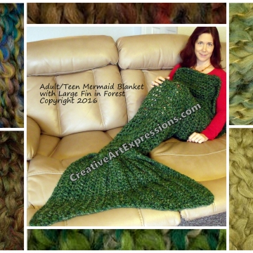 Green Mermaid Blanket Crocheted Adult Teen Made To Order