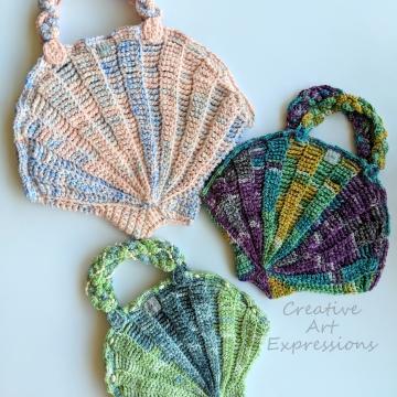Seashell Purse Crochet Pattern Collection, PDF Downloadable Pattern, Video Tutorials, Crochet Pattern, Mermaid Crochet, Ocean Crochet, Novelty Purse Pattern, 3 sizes