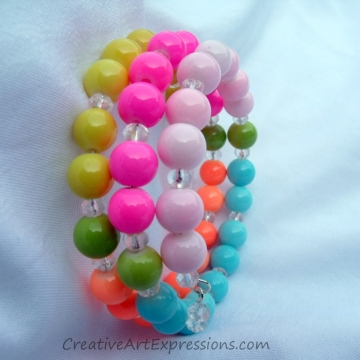 Creative Art Expressions Handmade Neon Multi Colored Bracelet