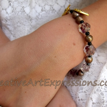 Clearance Was $8.00 Now $5.00 Creative Art Expressions Handmade Mahogany Blue & Gold Bracelet Jewelry