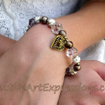 Clearance-Was $8.00 Now $5.00 Creative Art Expressions Handmade Gold White Bronze Bracelet Jewelry