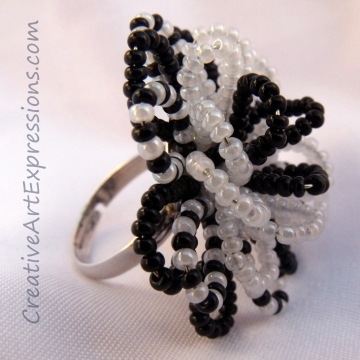 Creative Art Expressions Handmade Black & White Seed Bead Flower Ring Jewelry Design