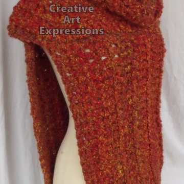 Katniss Cowl Inspired, Everdeen Huntress Cowl, Scarf, Crocheted Half Sweater, Mandarin Orange, Ready to Ship, Adult Women Scarf,
