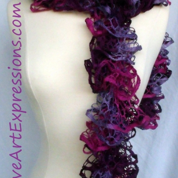 Creative Art Expressions Hand Knitted Pink & Purple Ruffle Scarf