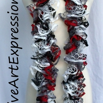 Creative Art Expressions Hand Knitted Red White & Gray Ruffle Scarf