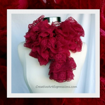 Creative Art Expressions Hand Knit Red Lace Ruffle Scarf