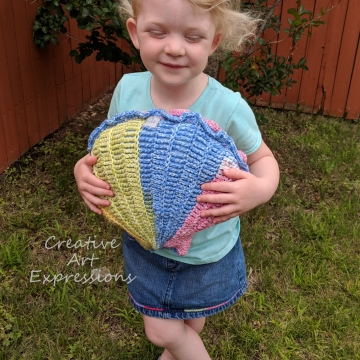 Seashell Clam Pillow, Crocheted, Rainbow, Blue, Yellow, Green, Pink, Orange, Blue Cotton Fabric Lined, Small, Mermaid Necessities, Ocean Crochet,  Unqiue Toddler, Teen, Tween or Women Gift, Ready to Ship, Ocean Decor, Home Decor