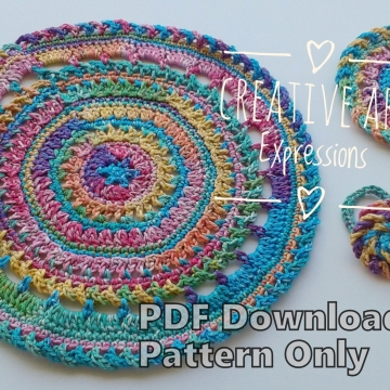 Round Elegant Place Mat Set Crochet Pattern, Coasters, Rose Napkin Rings, PDF Downloadable Pattern, Video Tutorials, Picture Tutorials, Crochet Pattern