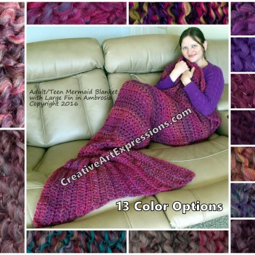 Purple Mermaid Blanket Crocheted Adult Teen Made To Order