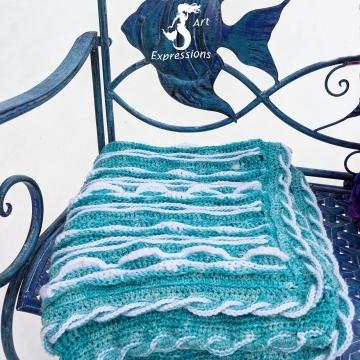 "Topaz Sea Breeze Crocheted Aqua & White Baby Blanket, Mermaid Crochet, Ocean Crochet, Ocean Blanket, Coastal Crochet Blanket, 34"" x 34"", Baby Room Decor, Waves Baby Blanket, Baby Shower Gift, Topaz Baby Blanket"