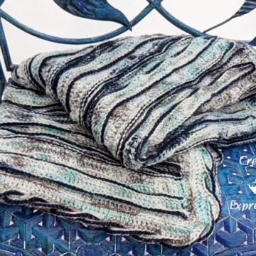"Crocheted Baby Blanket, Seafoam Whispers Sea Breeze Aqua, White, Brown, Blue Baby Blanket Crib Size or Lap Blanket, Mermaid Crochet, Ocean Blanket, Coastal Crochet, 34"" x 54"", Baby Room Decor, Waves Baby Blanket, Baby Shower Gift, Unique"