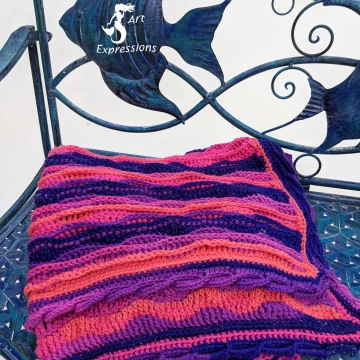 """Flamingo Bay Sea Breeze Crocheted Hot Pink, Blue, Purple, Coral Baby Blanket Crib Size or Lap Blanket, Mermaid Crochet, Ocean Crochet, Ocean Blanket, Coastal Crochet, 34"""" x 54"""", Baby Room Decor, Waves Baby Blanket, Baby Shower Gift,, Unique"""