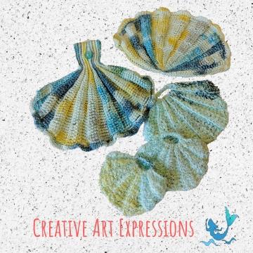 Watercolor Seashell Scrubby & Towel Set, Mermaid Crochet, Ocean Crochet, Novelty Scrubby, Kitchen Hand Towel, Bath Hand Towel, Hanging Towel, Bath Decor, Kitchen Decor, Home Decor, Handmade