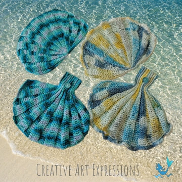 Seashell Towels Crochet Pattern, PDF Downloadable Pattern, Video Tutorials, Hand Towel, Kitchen Towel,Hanging Towel, Mermaid Crochet, Ocean Crochet