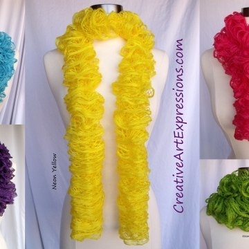 Creative Art Expressions Hand Knitted Neon Ruffle Scarves