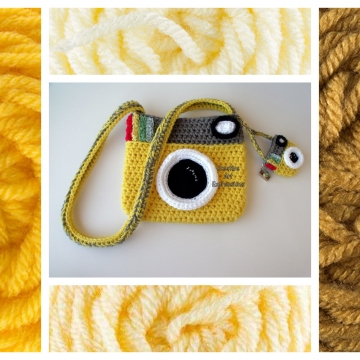 Camera Purse, Yellow, Made to Order, Shades of Yellow, Camera Bag, Stylish, Crochet, Fabric Lined