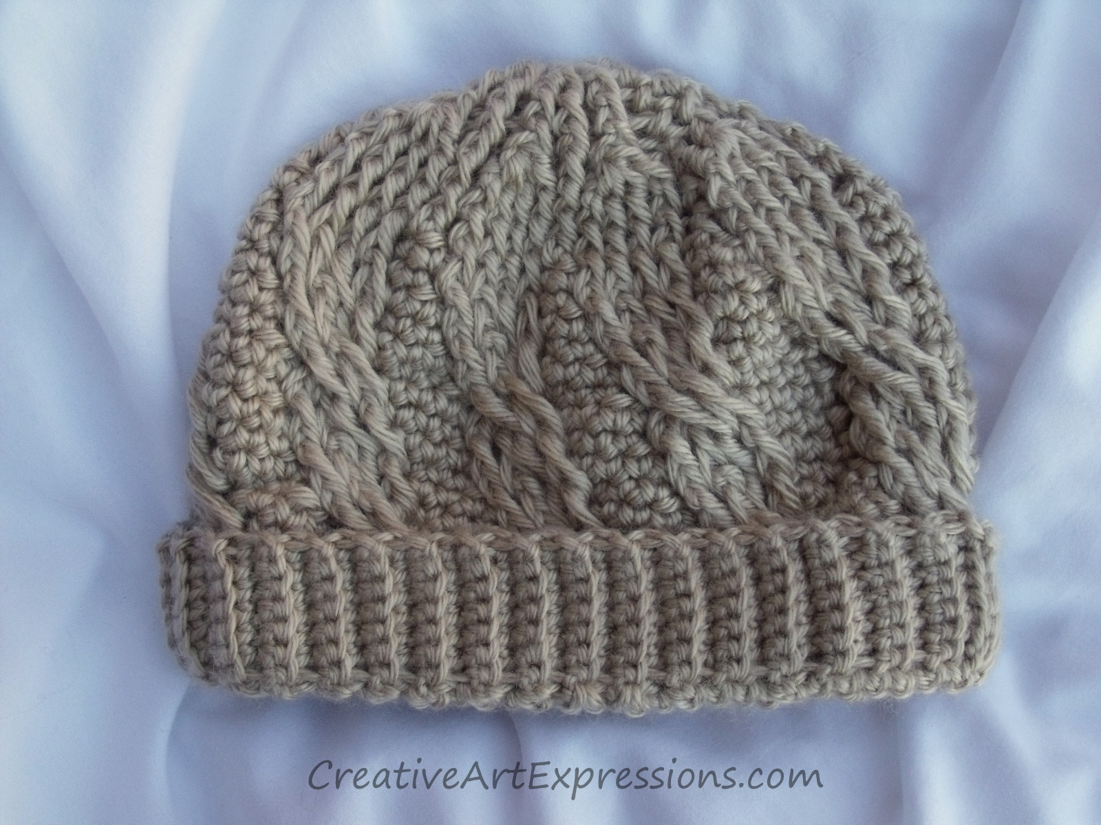 Crochet Cable Stitch : Hand Crocheted Cable Stitch Baby Beanie Creative Art Expressions