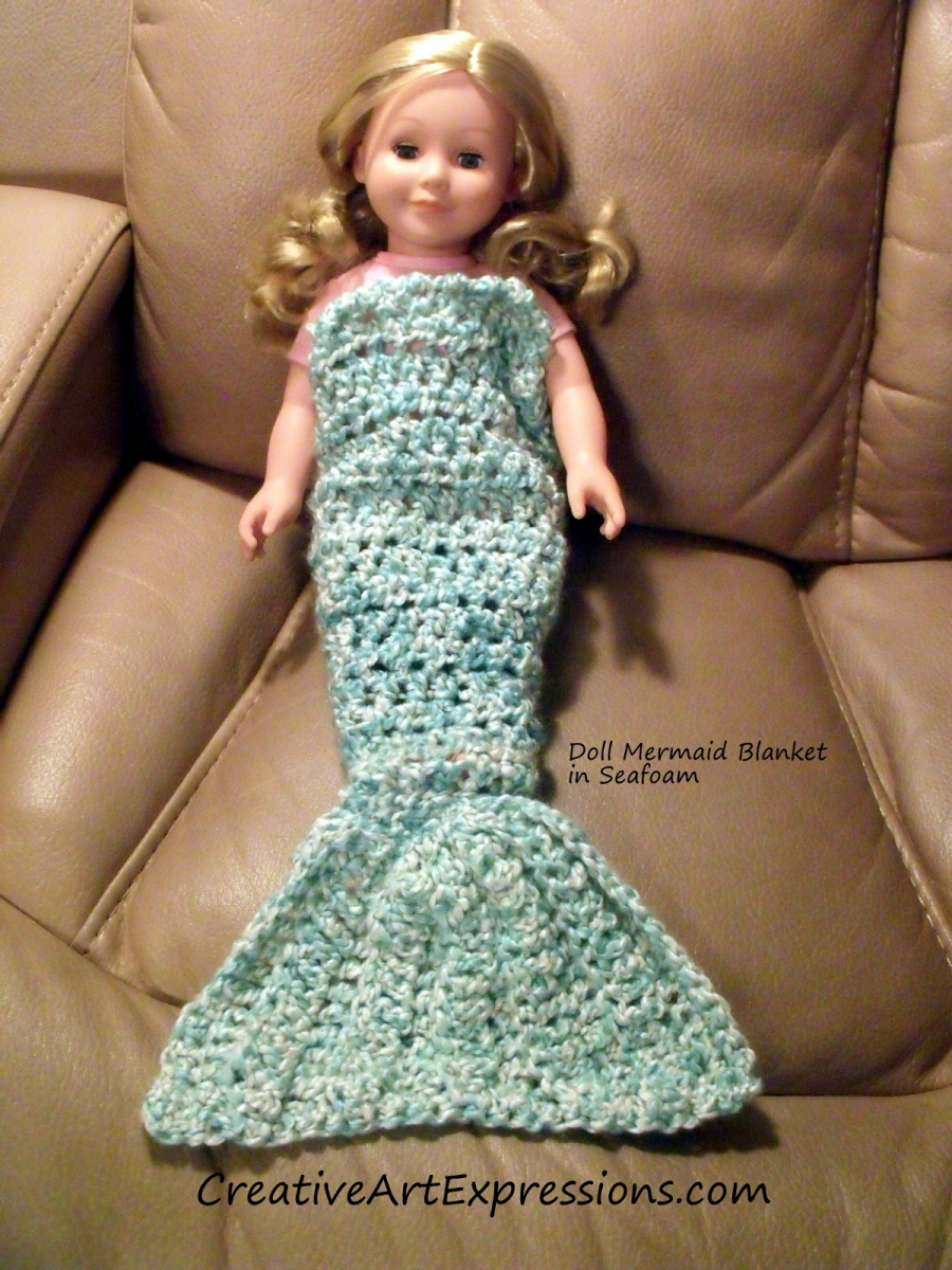 Hand Crocheted Seafoam Doll Mermaid Blanket