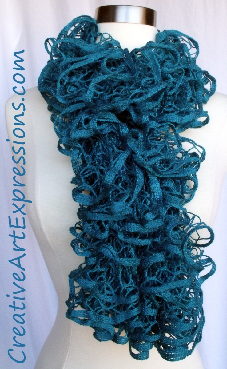 creative expressions knit turquoise ruffle scarf