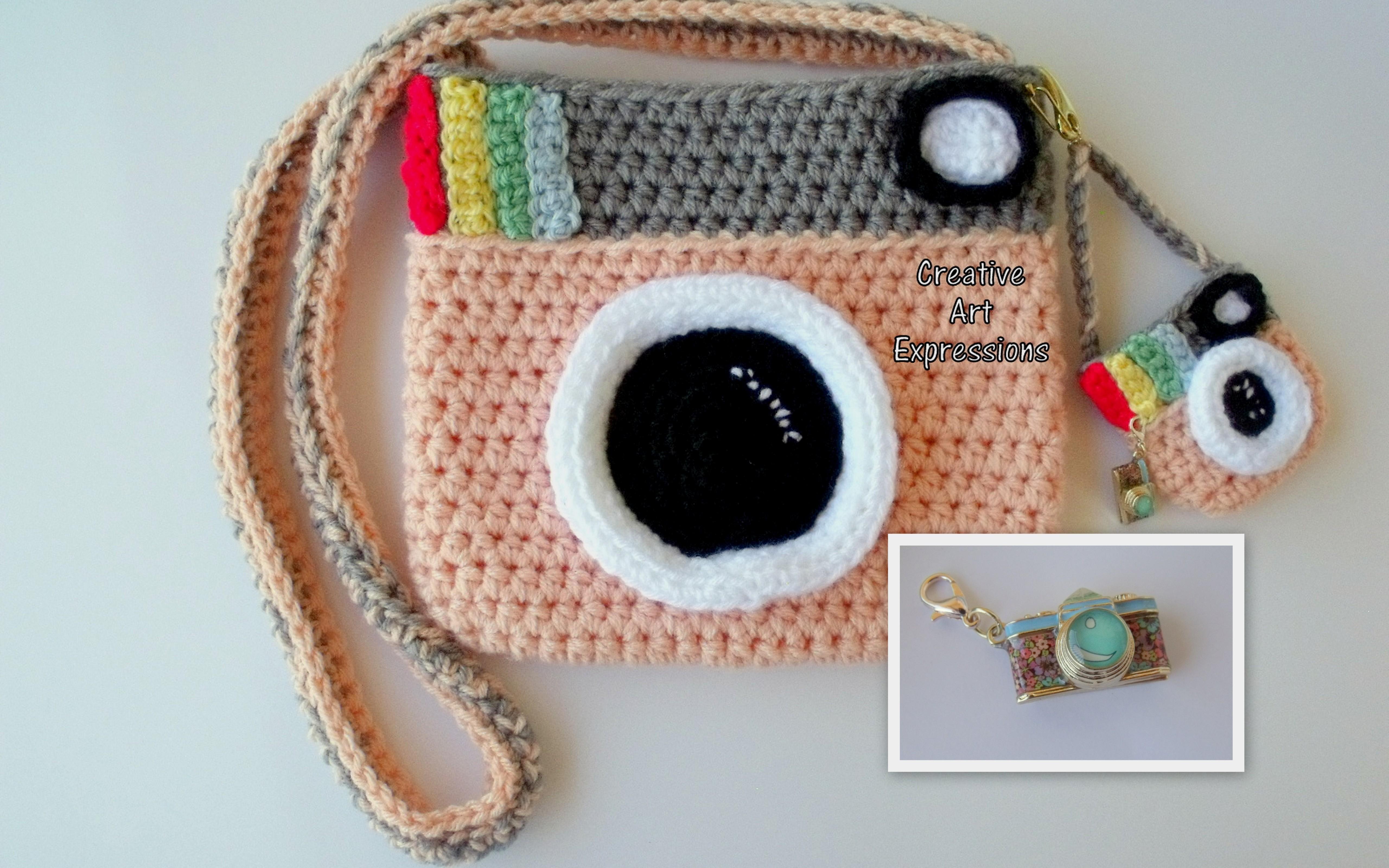 Camera Purse Peach Gray Bag Stylish Crochet Fashion Cute Handmade Fabric Lined
