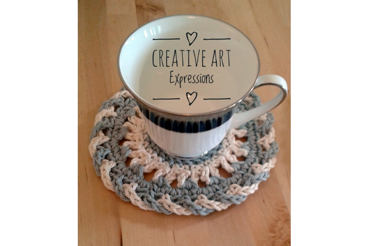 Cup on gray & ivory coaster