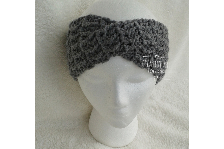Crocheted Head Band Twisted in Grey
