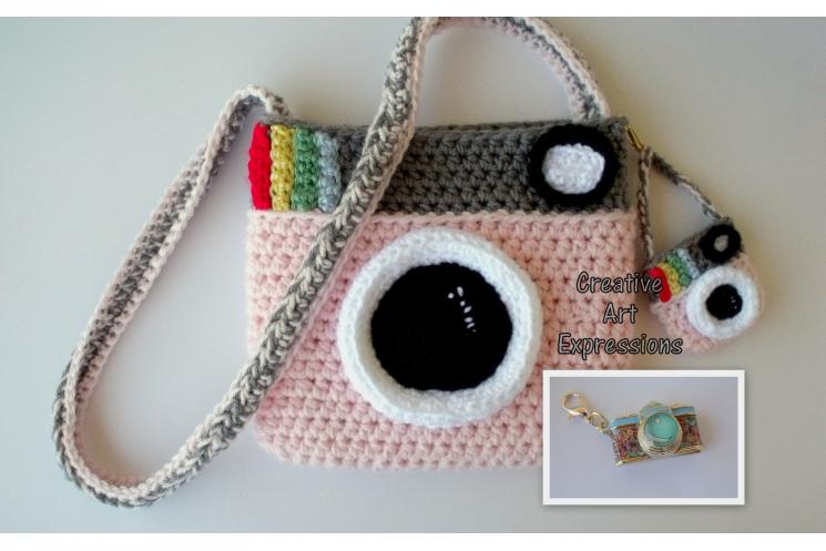 Pink Camera Purse Crocheted