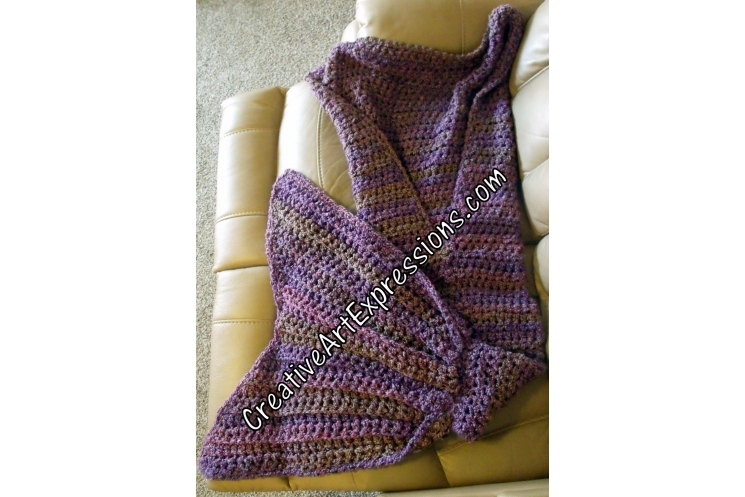 Back of Purple Adult Teen Mermaid Blanket