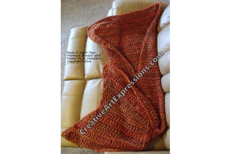 Back of Mermaid Blanket in Mandarin