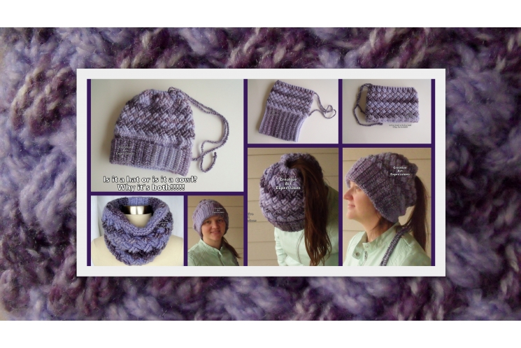 Messy Bun Ponytail Hat Cowl Combo