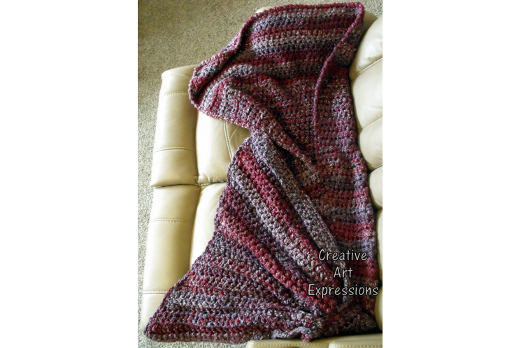 Back of Thick Adult Teen Mermaid Blanket Red Purple Silver