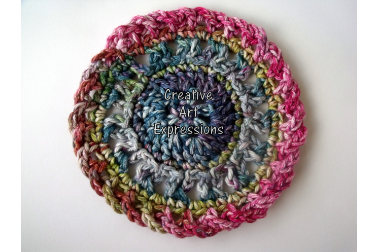 Pink Green & Purple Crocheted Cotton Round Coasters