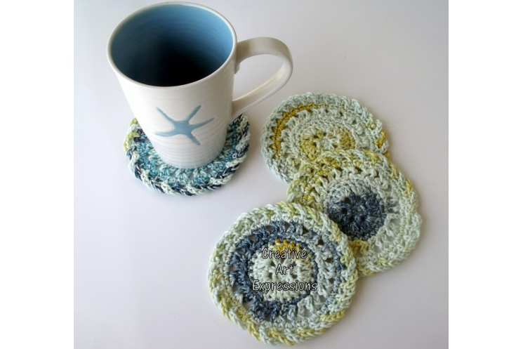 Blue Yellow White Crocheted Large Cotton Coasters