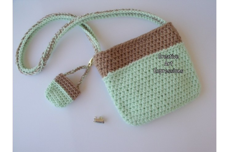 Back of Mint Green Camera Purse & Matching Key Chain & Camera Charm