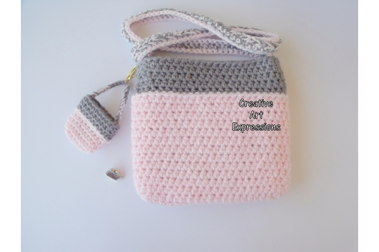 Back of Pink Camera Purse Crocheted