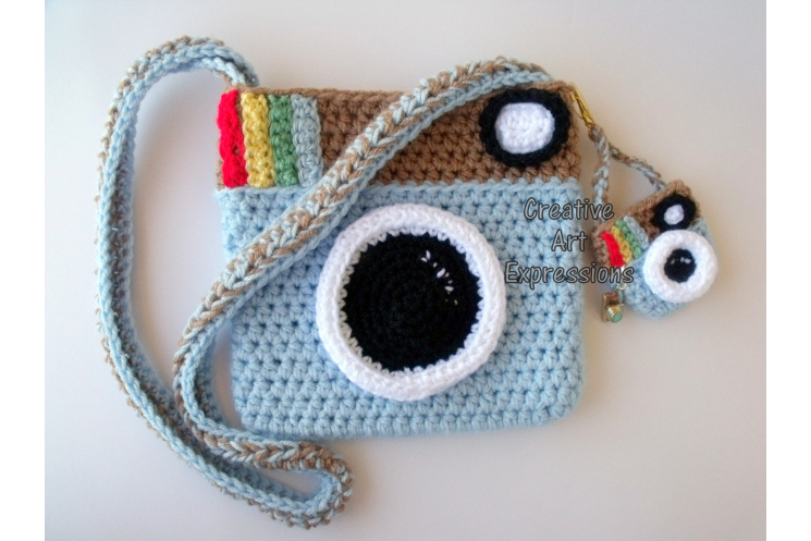 Soft Blue Vintage Camera Purse