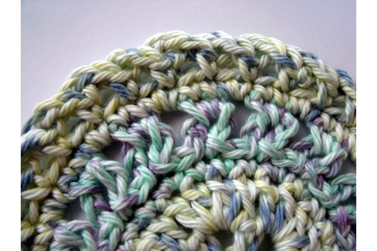 Pastel Crocheted Round Cotton Coasters