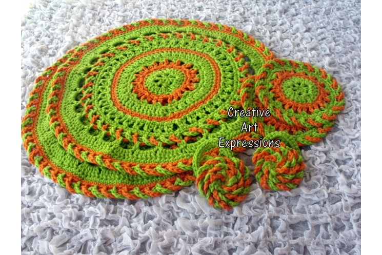 Place mat, coaster & napkin ring set in Bright Green & Orange
