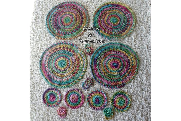 Bright Rainbow Place Mat Coaster & Napkin Ring Set