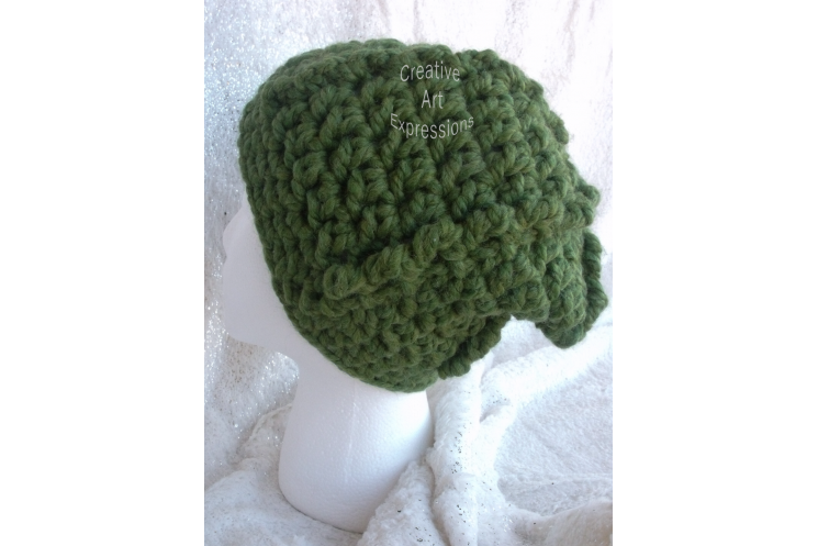 Bulky Ribbed Slouchy Hat in Grass Green