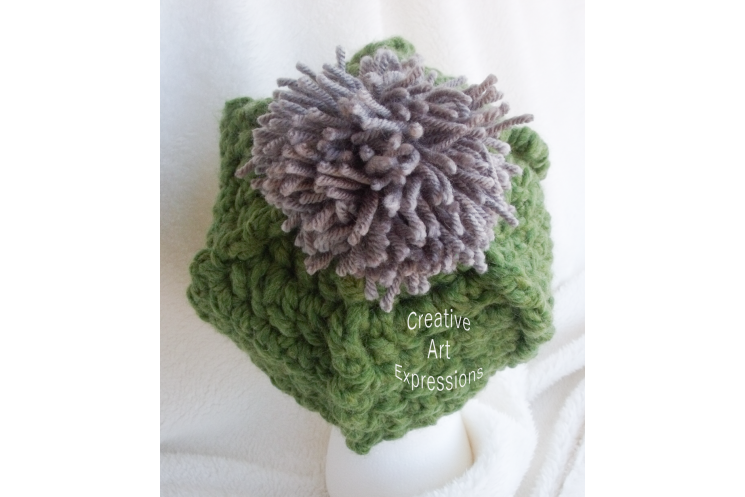 Bulky Ribbed Slouchy Hat in Grass Green With Pom