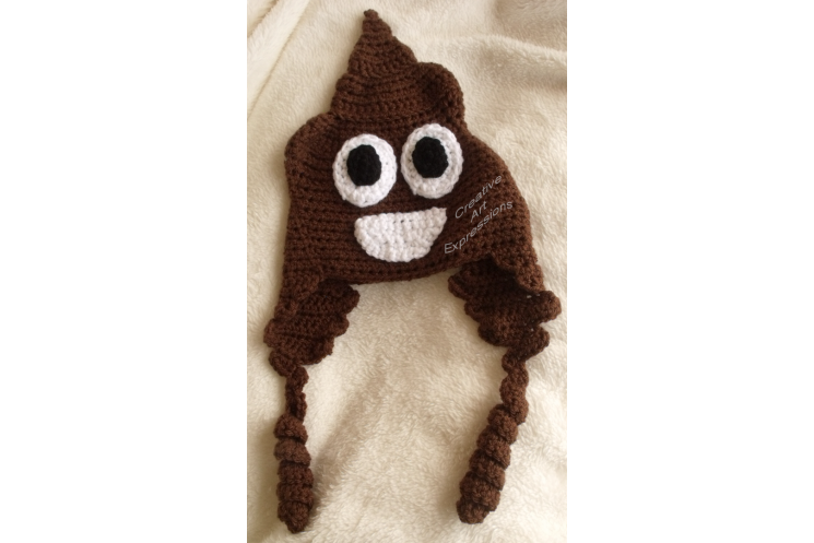 Poop Emoji Brown Hat Crocheted Child Size