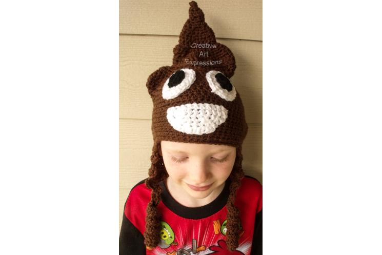 Poop Emoji Brown Hat Crocheted Child Size