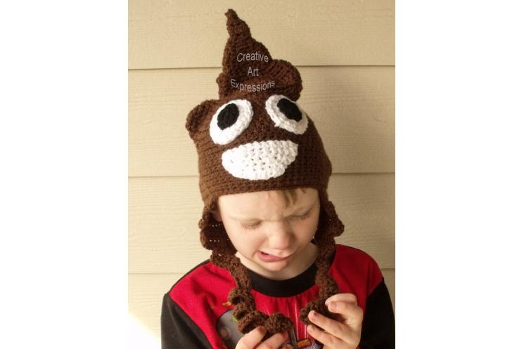 Brown Poop Emoji Hat Crocheted Child Size