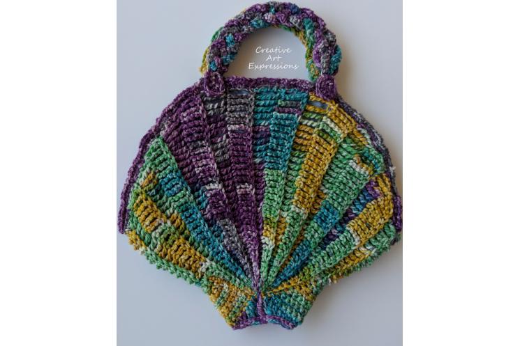 Back of Purple Green Yellow Teal Medium Seashell Purse