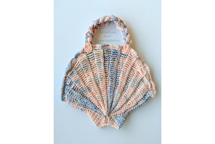 Pink & Blue Large Seashell Purse