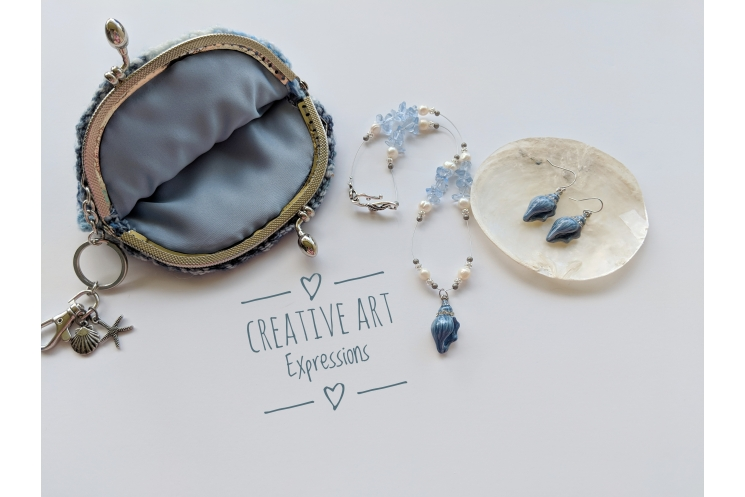Seashell Coin Purse & Blue Pearl Necklace Set
